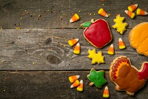Thanksgiving concept - cookies