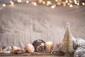 Festive Christmas cozy atmosphere
