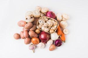 heap of mushrooms laying in basket o