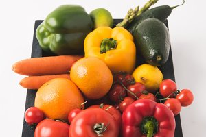 Raw colorful vegetables and fruits i