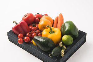 Juicy raw vegetables and fruits in d