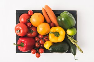 Top view of colorful vegetables and