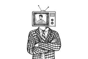 TV head man engraving vector