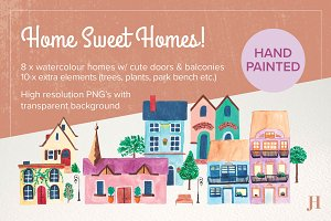 Watercolour Home Sweet Homes