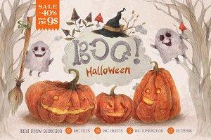 Halloween BOO HandDraw set