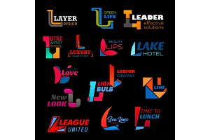 Business L letter icons