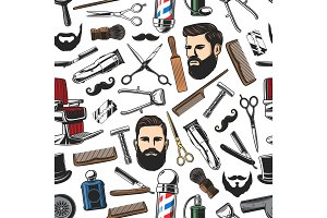 Barbershop, haircut seamless pattern