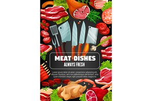 Meat sausage dishes, butcher cutlery