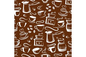 Steaming coffee seamless pattern