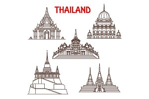 Thailand Bangkok temples vector
