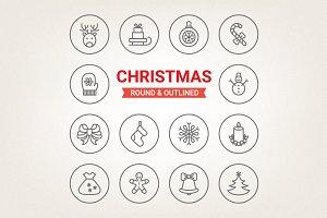 Circle Christmas icons