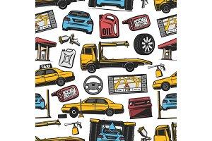 Car transport seamless pattern