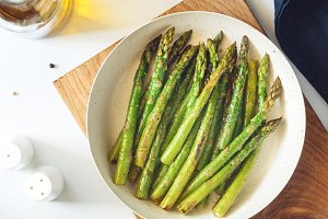 Top view on roasted asparagus