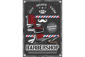 Barbershop chair and shave razor