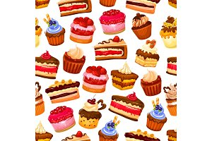 Pastry sweets seamless pattern