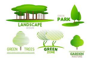 Garden tree vector icons