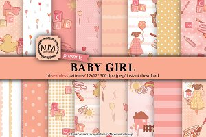 Baby girl digital papers