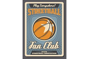 Streetball sport club vector poster