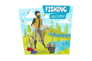 Fishing and fisher big fish catch