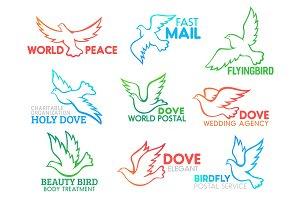 Dove bird flying vector icons