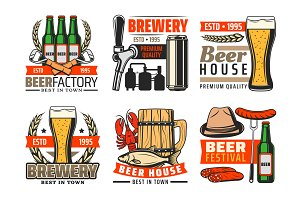 Beer bar and brewery pub icons