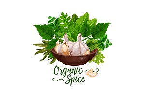 Organic spices and cooking herbs