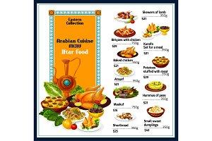 Arabian cuisine dishes menu