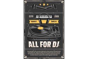 Music shop DJ studio equipment