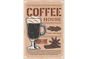 Coffee house, retro poster