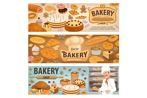 Bakery shop cakes and baker