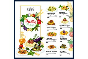 Italian cuisine pasta dishes menu