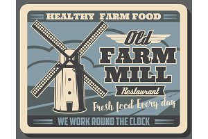 Healthy farm food and wind mill