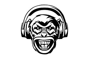 Angry monkey head in headphones.
