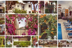 autumn houses, gardens and balconies