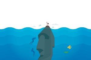 Scuba Divers explore civilizations