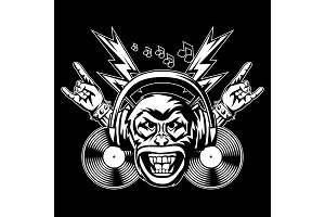 Rock and roll music print. Angry
