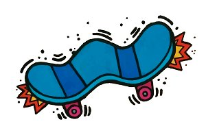Skate Hand drawn vector illustration