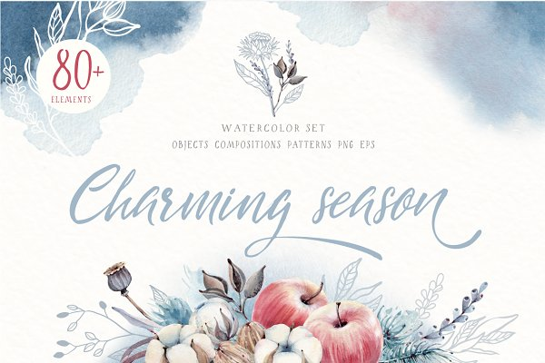 Illustrations and Illustration Products - CHARMING SEASON Watercolor set