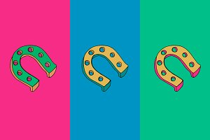 Colorful Horseshoe in 3 styles