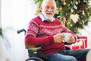 A senior man in wheelchair with a