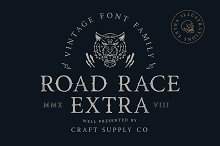 Road Race Extra + Illustrations by  in Serif Fonts