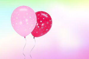 Pink balloon on blur background