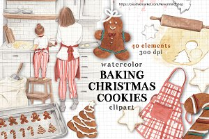 Christmas baking watercolor clipart