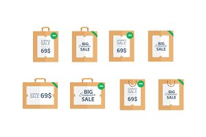 Summer sale vector labels