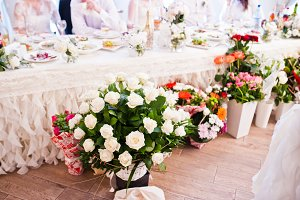 Bouquets of different flowers at wed
