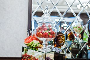 Strawberries in a glass vessel with