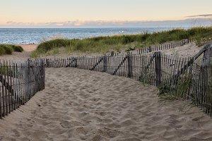 Wooden fence with Atlantic ocean