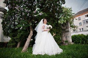 Cute brunette bride under lilac tree