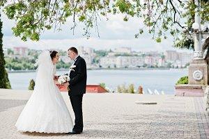 Wedding couple stay under tree backg