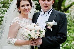 Elegant wedding couple in love backg